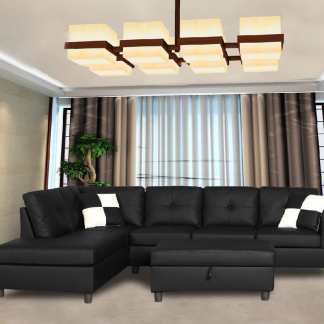 Sectional, black, living room