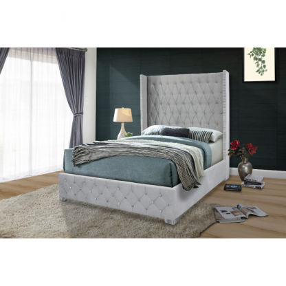 Millennia Upholstered Bed in Grey
